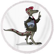 Illustration Of An Iguanodon Clerk Round Beach Towel