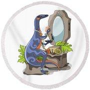 Illustration Of An Iguanodon Putting Round Beach Towel