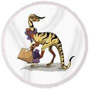 Illustration Of An Iguanodon Round Beach Towel