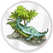 Illustration Of An Iguanodon Sunbathing Round Beach Towel