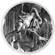 Illustration To The Poem Jabberwocky  Round Beach Towel