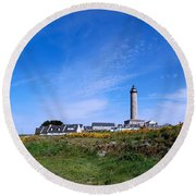 Ils De Batz Lighthouse Round Beach Towel