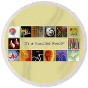 Image Mosaic - Promotional Collage Round Beach Towel by Ben and Raisa Gertsberg
