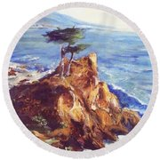 Imaginary Cypress Round Beach Towel