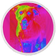 Imaginary Liberty The Dog Round Beach Towel