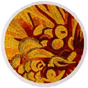 Imagination In Hot Vivid Yellows Round Beach Towel