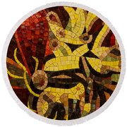 Imagination In Reds And Yellows Round Beach Towel