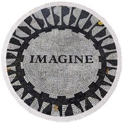 Imagine A World Of Peace Round Beach Towel