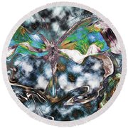 Imagine Number 2 Butterfly Art Round Beach Towel
