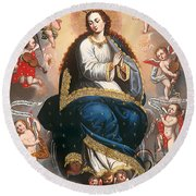 Immaculate Virgin Victorious Over The Serpent Of Heresy Round Beach Towel