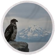 Immature Eagle And Alaskan Mountain Round Beach Towel