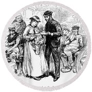 Immigrant Inspection, 1883 Round Beach Towel