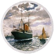 Immigrant Ship, 1893 Round Beach Towel