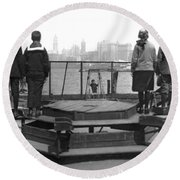 Immigrants At Ellis Island Round Beach Towel