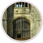 Imposing Front Door Of Titchfield Abbey Round Beach Towel