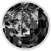 Impossible Reflections B/w Round Beach Towel