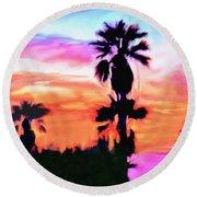 Impression Desert Sunset V2 Round Beach Towel