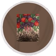 Impression Flowers Round Beach Towel