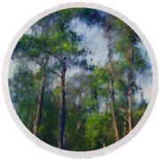 Impression Trees Round Beach Towel
