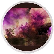 Impressionism Style Landscape Round Beach Towel