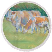 Impressionist Cow Calf Painting Round Beach Towel