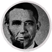 Impressionist Interpretation Of Lincoln Becoming Obama Round Beach Towel