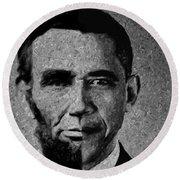 Impressionist Interpretation Of Lincoln Becoming Obama Round Beach Towel by Doc Braham