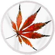 Impressionist Japanese Maple Leaf Round Beach Towel