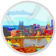 Impressionist Pittsburgh Across The River 2 Round Beach Towel
