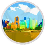 Impressionist Pittsburgh From The North Side Round Beach Towel