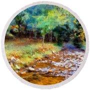 Impressionist Rocky Creek Round Beach Towel