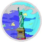 Impressionist Statue Of Liberty Round Beach Towel