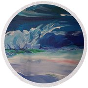 Impressionistic Abstract Wave Round Beach Towel
