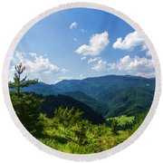 Impressions Of Mountains And Forests And Trees Round Beach Towel