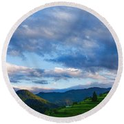 Impressions Of Mountains And Magical Clouds Round Beach Towel
