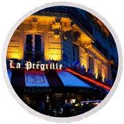 Impressions Of Paris - Latin Quarter Night Life Round Beach Towel