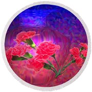 Impressions Of Pink Carnations Round Beach Towel by Joyce Dickens