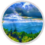 Impressions Of Waterrock Knob On The Blue Ridge Parkway Round Beach Towel