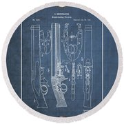 Improvement To Muzzle-loading Fire-arm - Vintage Patent Blueprint Round Beach Towel