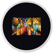 Improvisation Of Lights - Palette Knife Oil Painting On Canvas By Leonid Afremov Round Beach Towel