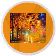 Improvisation Of Trees - Palette Knife Oil Painting On Canvas By Leonid Afremov Round Beach Towel