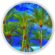 In A World Of Palms Round Beach Towel
