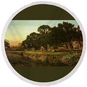 In Country Churchyard Wittington Worcester Round Beach Towel