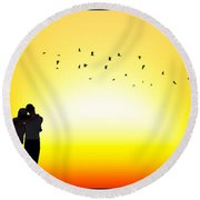 In Each Others Arms II... Round Beach Towel