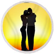In Each Others Arms... Round Beach Towel