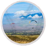 In Flight - Paragliders Taking Off High Over Maui. Round Beach Towel