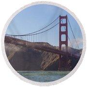 In Flight Over Golden Gate Round Beach Towel by Scott Campbell