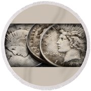 In God We Trust_silver Dollars Round Beach Towel