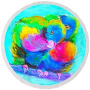In Love Birds - Lorikeets Round Beach Towel