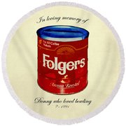 In Loving Memory Of Donny Who Loved Bowling  Variant 1 Round Beach Towel